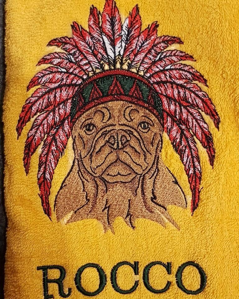 Embroided towel with Native american dog design