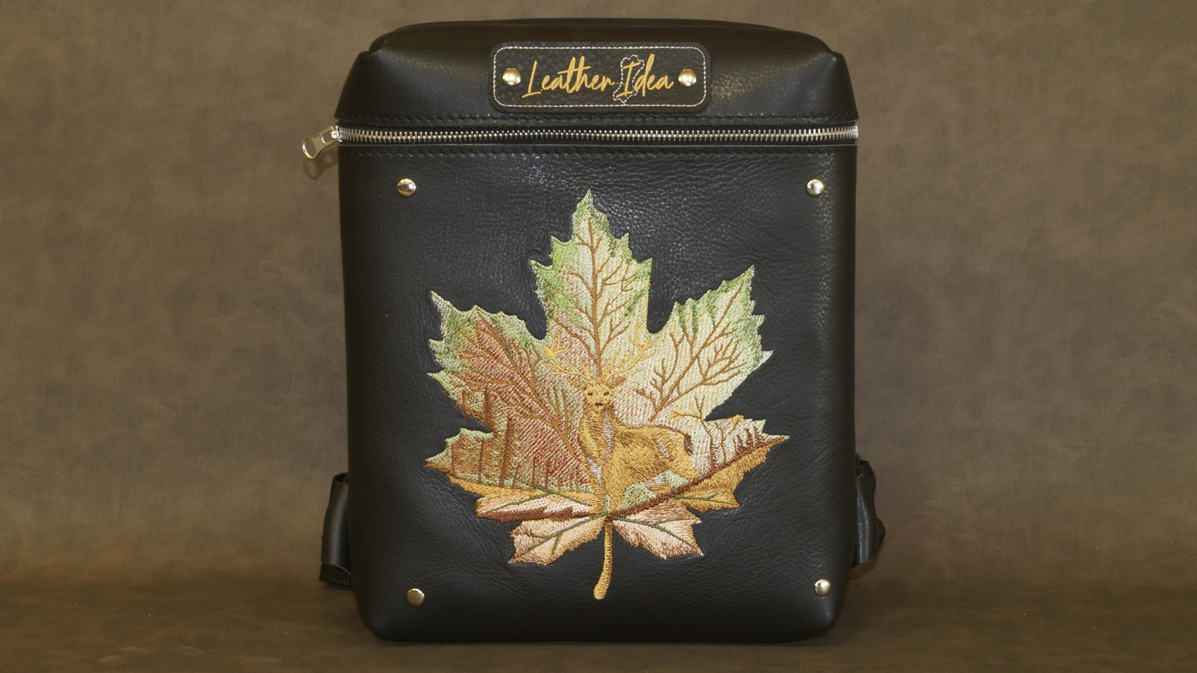 Embroidered bag with Maple leaf embroidery design