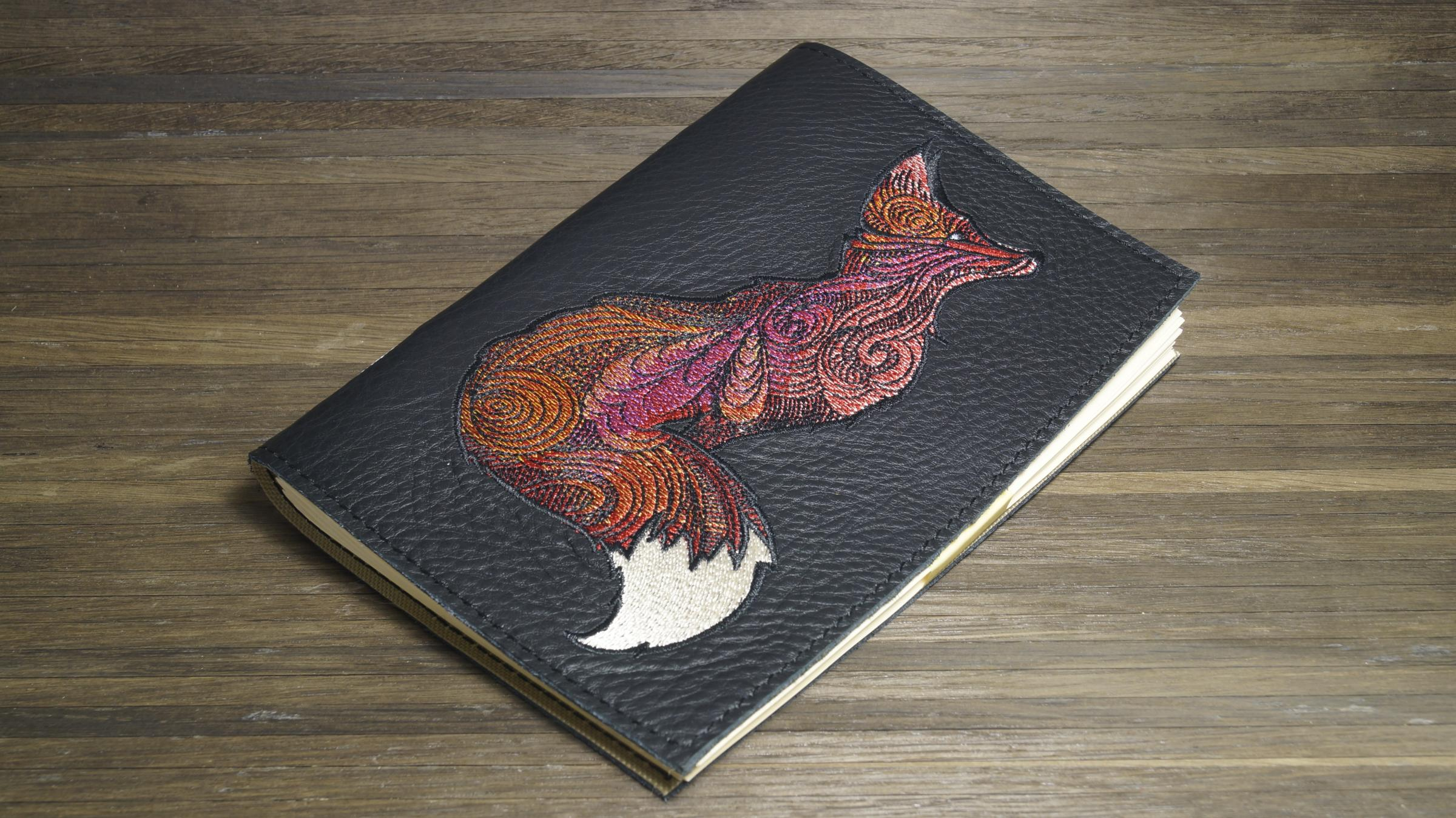 Embroidered cover with Mosaic fox embroidery design