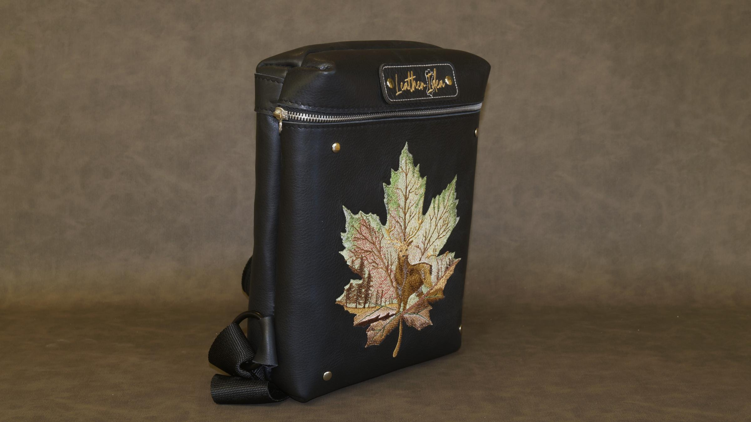 Embroidered leather bag with Maple leaf design