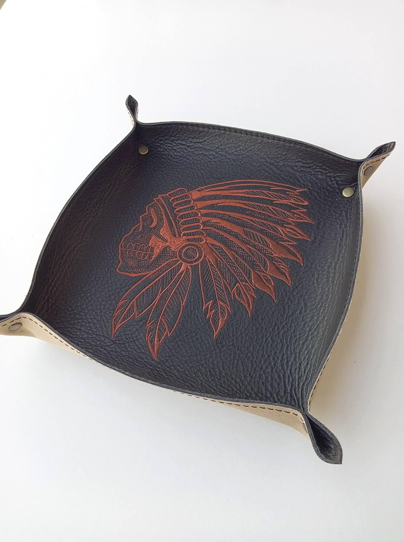 Embroidered leather plate with Indian skull design