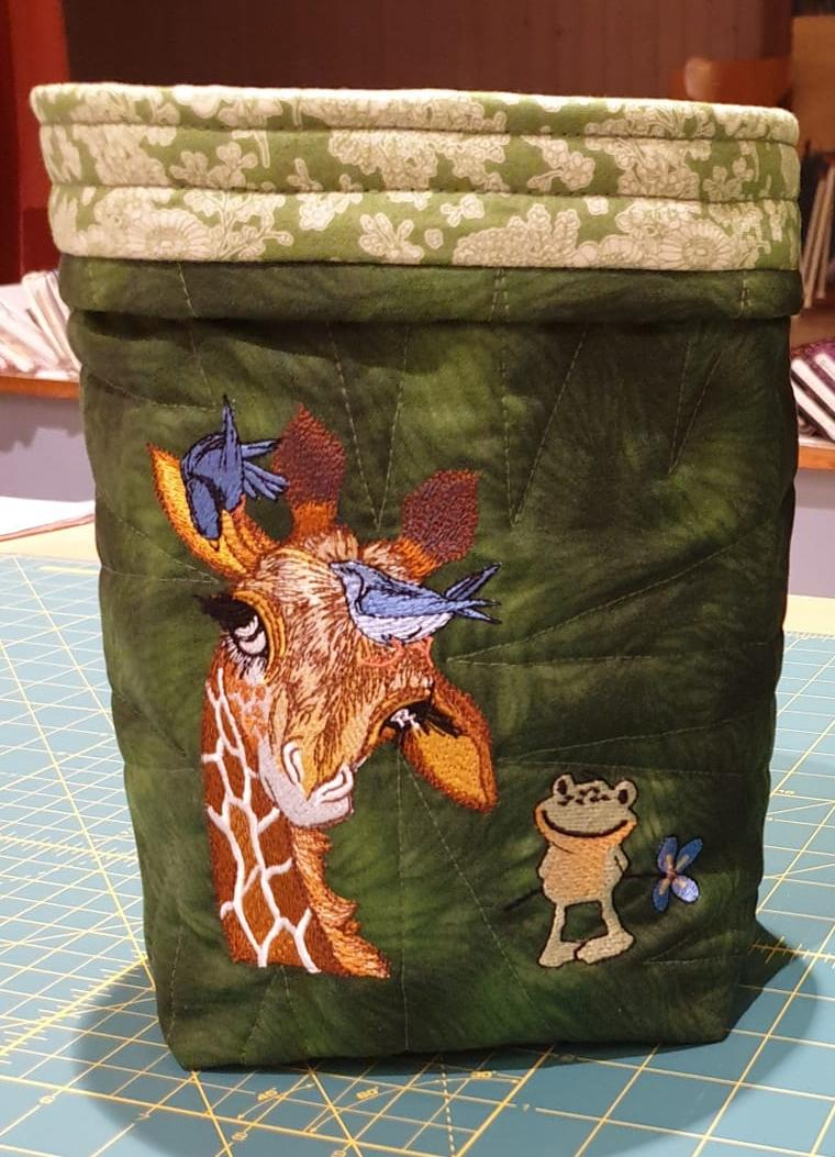 Embroidered textile Basket with Giraffe design