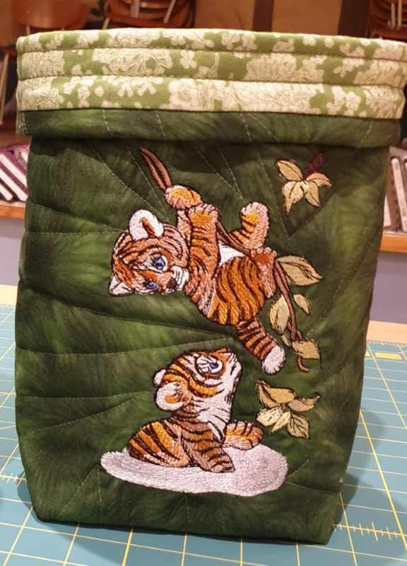 Embroidered textile Basket with Tigers design