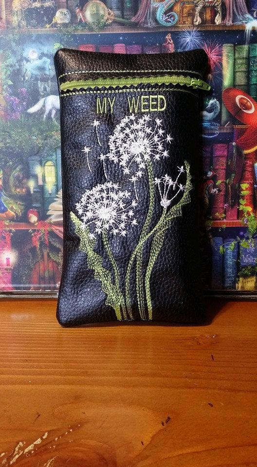 Embroidered My weed pouch pipe case with Dandelions free design