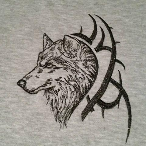 Tribal Wolf free machine embroidery design