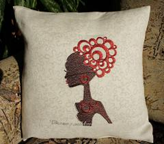 Sofa cushion with african beauty embroidery design