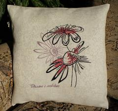 Pillow with Chamomiles machine embroidery design