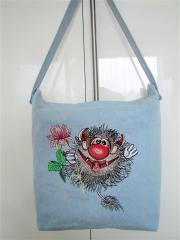 Embroidered bag with Funny creature design