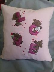 Embroidered cushion with Bears and letters design