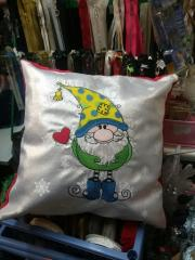 Embroidered cusihon with Funny gnome design