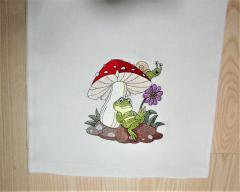Frog and mushroom embroidery design
