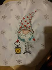 Gnome with lantern embroidery design
