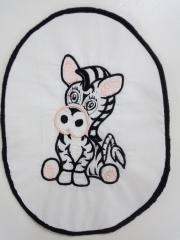 Sitting zebra embroidery design