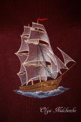 Sea ship free embroidery design