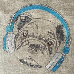 Stylish pug-dog machine embroidery design