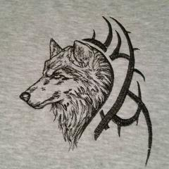 Tribal Wolf free machine embroidery design
