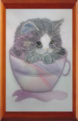 Cat in cup free embroidery design