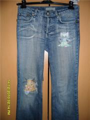 Embroidered jeans with angry cat free design