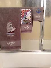 Sea theme embroidered towels with free designs