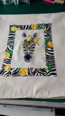 Quilt block with Zebra embroidered free design