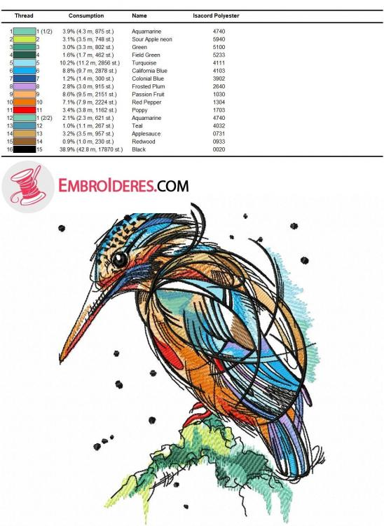 Color chart Bright birdie Isacord thread color palette