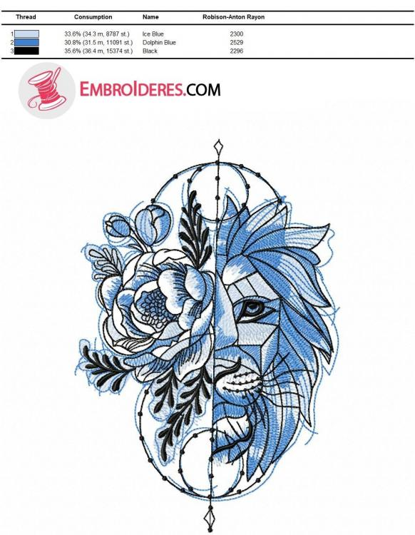 Color chart for lion embroidery blue variant