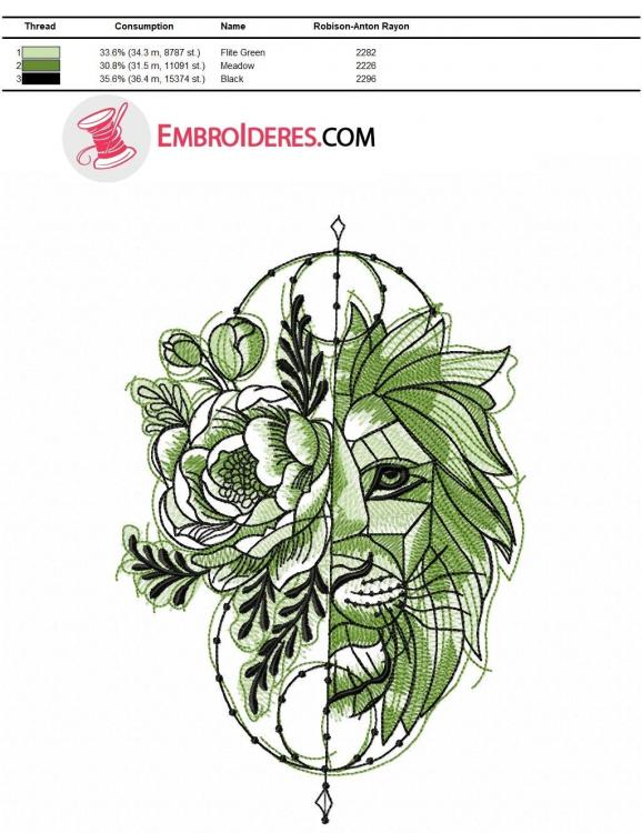 Color chart for lion embroidery green variant