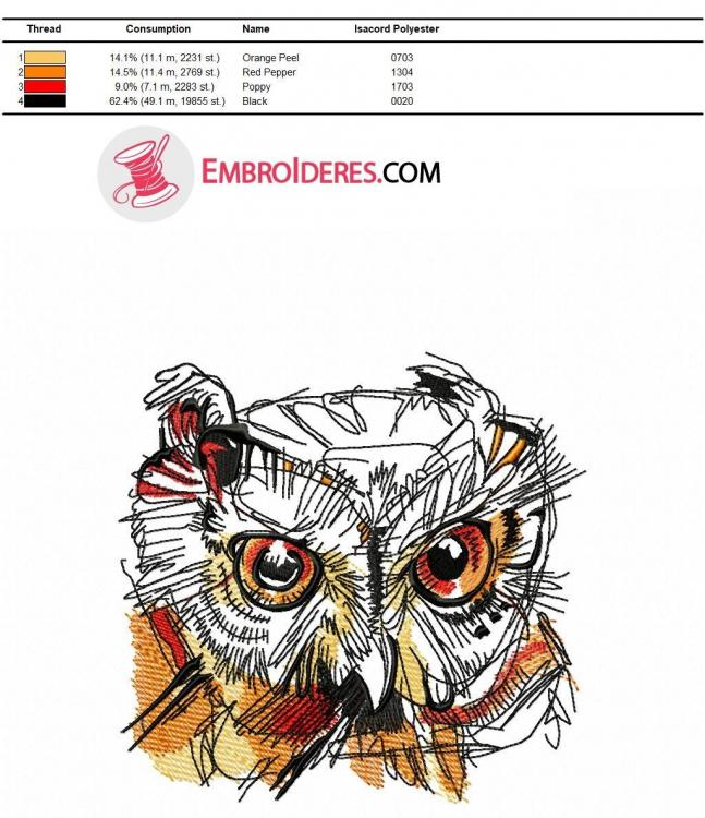 Isacord polyester color chart for Wild owl head embroidery design