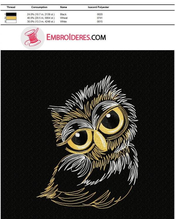 Color chart Sleepy owl Isacord polyester color chart