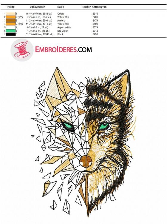Color chart wolf embroidery in brown palette