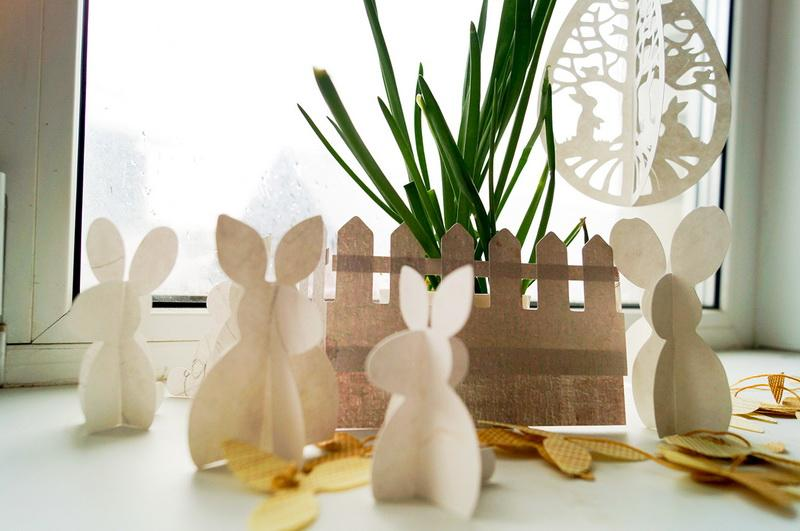 Paper bunnies and fabric fence