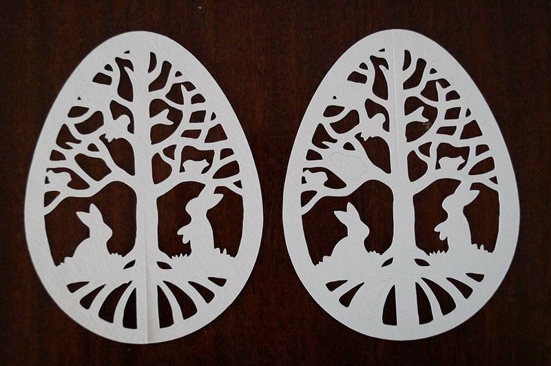 Two paper easter egg cuttings