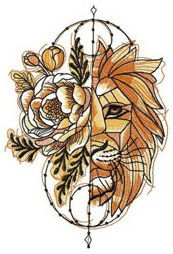Fantastic lion machine embroidery design