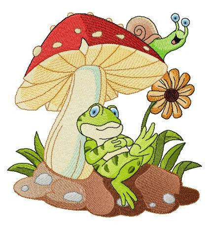 Frogs rest under mushroom machine embroidery design