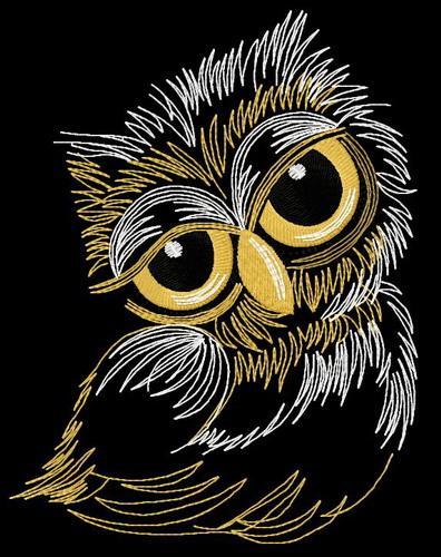 Sleepy owl machine embroidery design