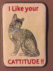 Textile postcard with Mosaic cat embroidery design