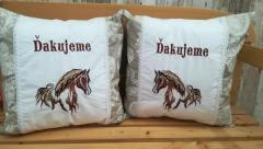 Set of embroidered cushions with Horse design