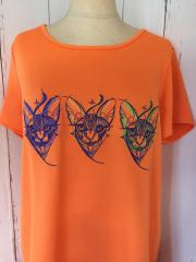 Geometric Sphynx on embroidered t-shirt