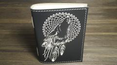 Embroidered cover with Wolf dreamcatcher design