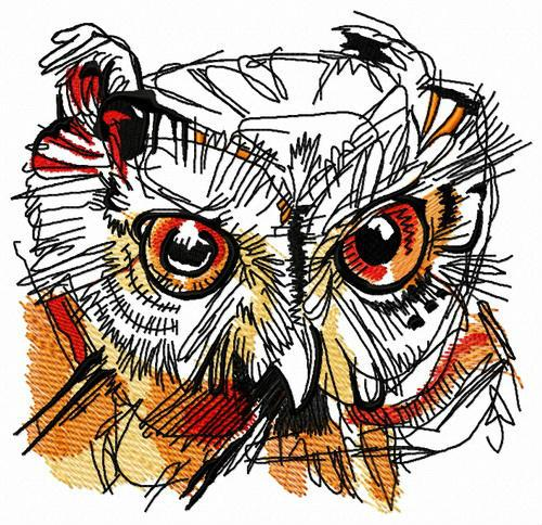 Wild owl head embroidery design
