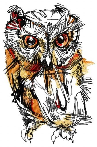 Wild owl machine embroidery design
