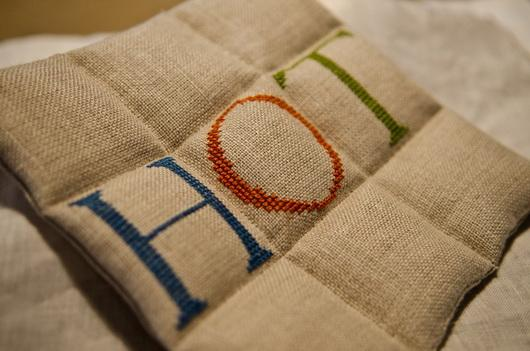 Linen potholder with letters