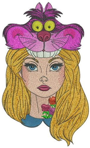 Alice with Cheshire cat hat embroidery design