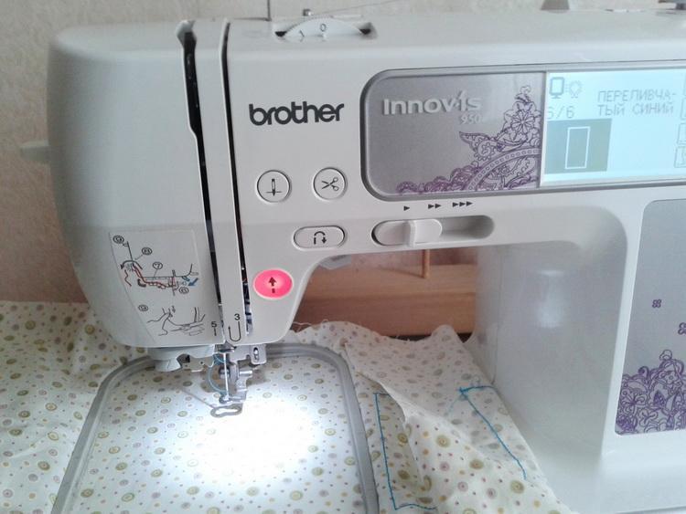 Printed white fabric under presser foot