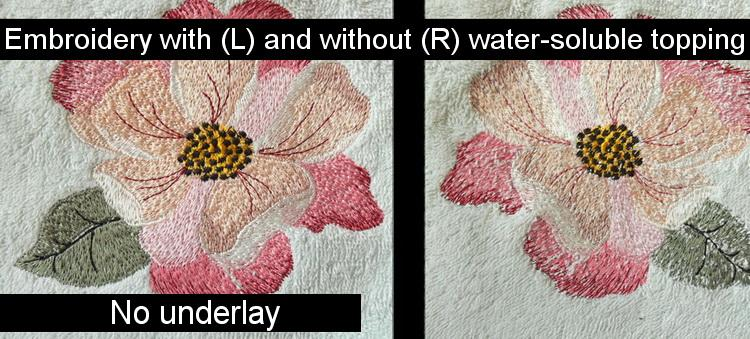 Flower embroidery on terry cloth with and without stabilizer