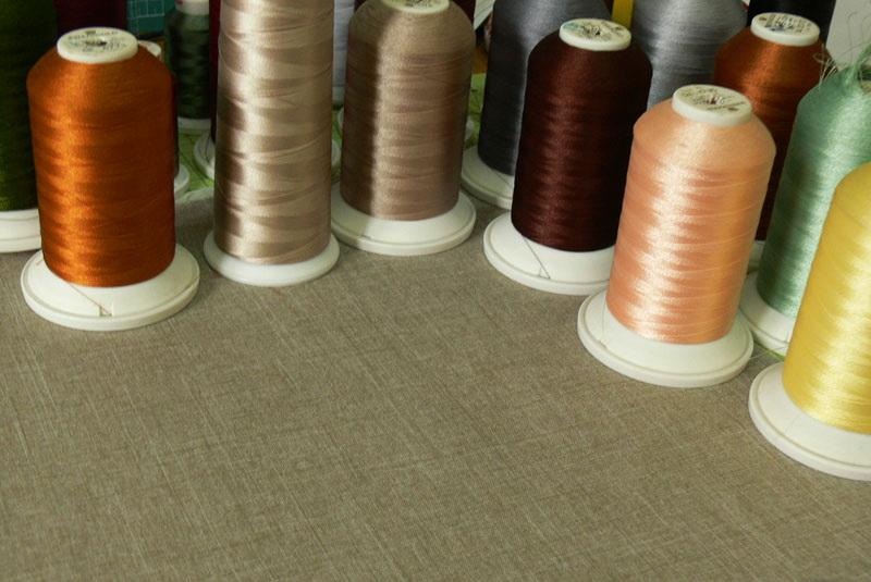 Embroidery threads on spools