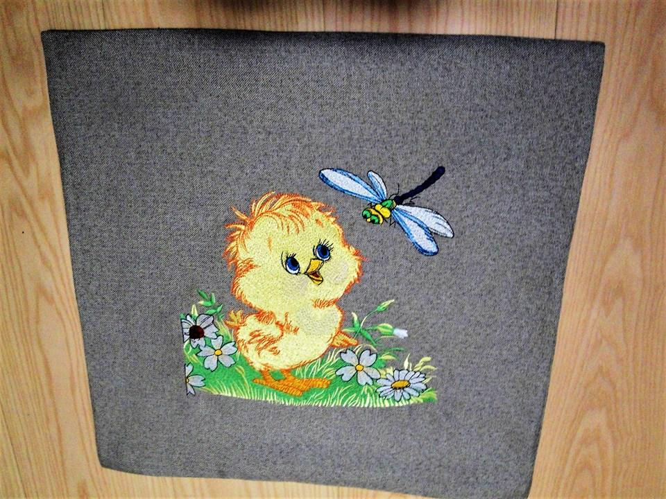 Curious chicken embroidery design