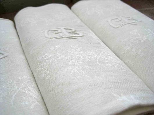 Linen napkins with monograms