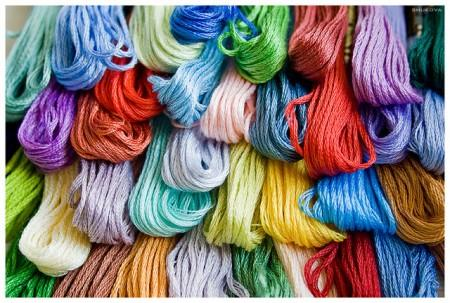 Mouline threads of various colors