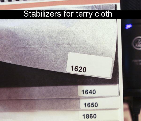 Stabilizers for terry cloth